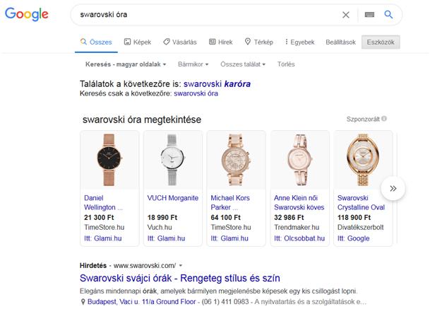 Google Shopping találati lista